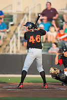 Derek Peterson (46) of the Delmarva Shorebirds at bat against the Kannapolis Intimidators at CMC-Northeast Stadium on June 6, 2015 in Kannapolis, North Carolina.  The Shorebirds defeated the Intimidators 7-2.  (Brian Westerholt/Four Seam Images)