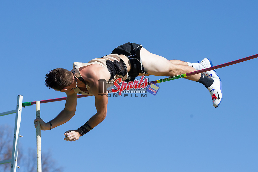 Michael Cyphers of the Wake Forest Demon Deacons competes in the men's pole vault at the Wake Forest Open on March 18, 2016 in Winston-Salem, North Carolina.  (Brian Westerholt/Sports On Film)