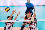 Middle blocker Haruyo Shimamura of Japan (L) and Wing spiker Rika Nomoto of Japan (R) blocks during the FIVB Volleyball World Grand Prix match between China vs Japan on July 21, 2017 in Hong Kong, China. Photo by Marcio Rodrigo Machado / Power Sport Images