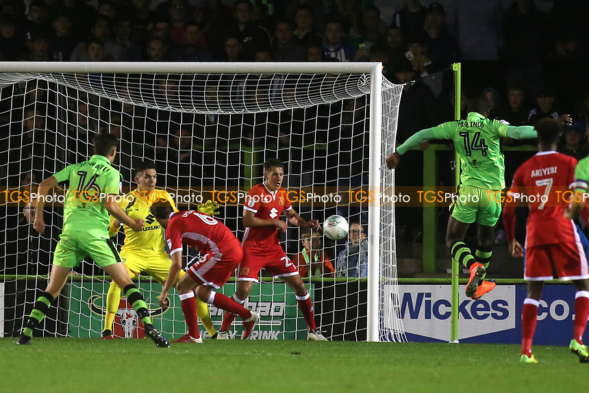 Shamir Mullings of Forest Green Rovers takes a shot at the  MK Dons goal during Forest Green Rovers vs MK Dons, Caraboa Cup Football at The New Lawn on 8th August 2017