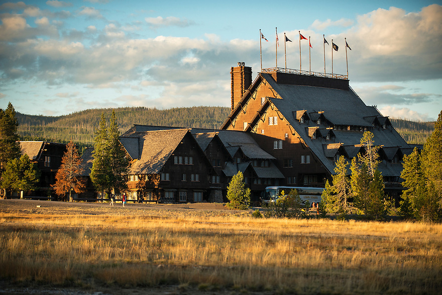 Dawn illuminates the Old Faithful Inn in Yellowstone National Park.