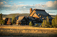 Dawn illuminates the Old Faithful Inn in Yellowstone National Park.