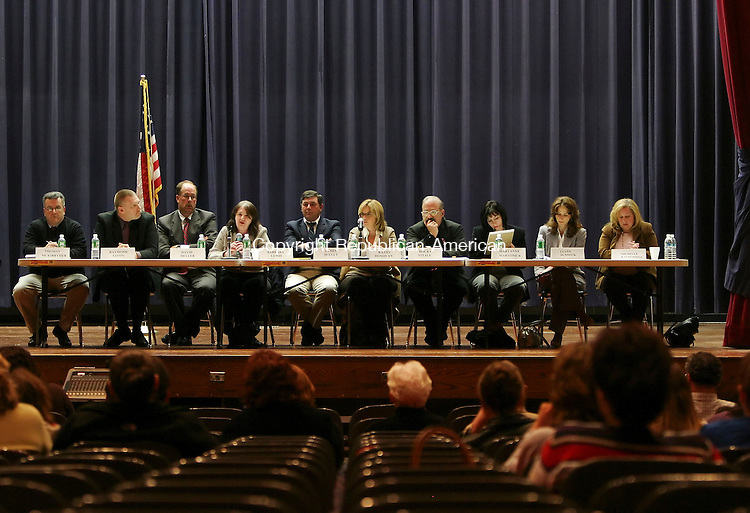 NAUGATUCK, CT 4/9/07- 040907BZ03-  The Parent School Council sponsored a debate by the Naugatuck Board of Education at City Hill Middle School Monday evening. The candidates from left- Thomas McKirryher, Raymond Savoy, David Heller, Barbara Lewis, James Scully, Kathy Donovan, Rocky Vitale, Maryanne Martonick, Luann Dunnuck, and Michelle Kalogrides<br /> Jamison C. Bazinet Republican-American