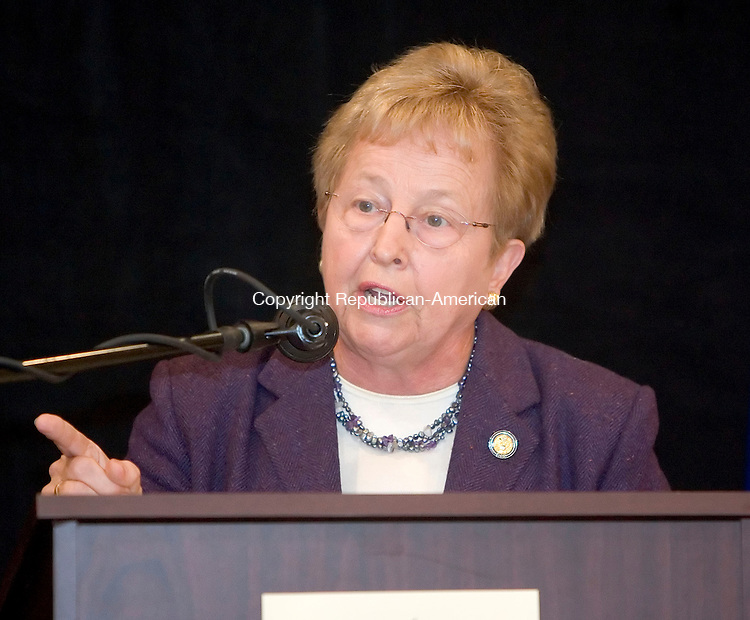 WATERBURY, CT- 23 OCT 06- 102306JT05- <br /> U.S. Rep. Nancy Johnson speaks during a debate for the Fifth Congressional District seat with challenger State Sen. Chris Murphy and moderator Ed Flynn,  on Monday at the Connecticut Grand Hotel in Waterbury. <br /> Josalee Thrift Republican-American