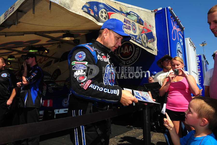 May 22, 2011; Topeka, KS, USA: NHRA funny car driver Robert Hight during the Summer Nationals at Heartland Park Topeka. Mandatory Credit: Mark J. Rebilas-