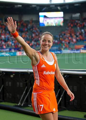 12.06.2014. The hague, Netherlands.  Dutch players wave to the crowd after their victory. Netherlands versus Argentina, semi-final Womens  Rabobank Hockey World Cup 2014. The game ended 4-0 with Netherlands making the final