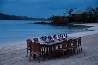 Lanterns Lit for Twilight Beach Dinner, Turtle Island, Yasawa Islands, Fiji