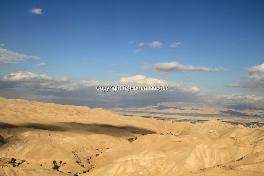 A view of Wadi Qelt in the Judean Desert, the Jordan Valley is in the background