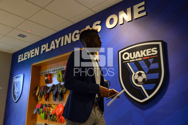 San Jose, CA - Saturday, March 11, 2017: Shaun Francis prior to a Major League Soccer (MLS) match between the San Jose Earthquakes and the Vancouver Whitecaps FC at Avaya Stadium.