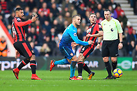Jack Wilshere of Arsenal plays a pass in midfield during AFC Bournemouth vs Arsenal, Premier League Football at the Vitality Stadium on 14th January 2018