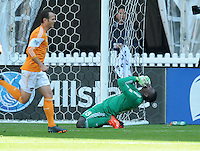 Bill Hamid (28) of D.C. United goes down after a penalty kick. The Houston Dynamo defeated D.C. United 2-1, at RFK Stadium, Saturday October 27, 2013.