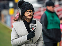 WASHINGTON, DC - FEBRUARY 29: Television on-field announcer Claudia Pagan during a game between Colorado Rapids and D.C. United at Audi Field on February 29, 2020 in Washington, DC.