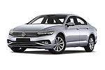 Stock pictures of low aggressive front three quarter view of a 2020 Volkswagen Passat Style Business 4 Door Sedan