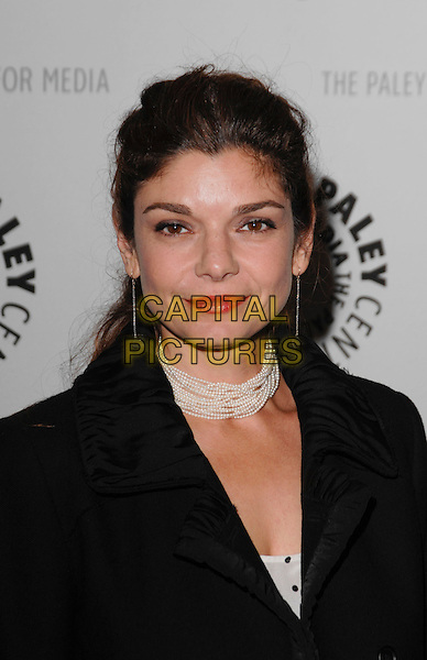 "LAURA SAN GIACOMO .arriving at the Third Season Premiere and Panel Discussion for ""Saving Grace"" at The Paley Center for Media in Beverly Hills, California, USA, June 13th 2009..portrait headshot red lipstick pearl necklace choker beads black coat jacket.CAP/ROT.©Lee Roth/Roth Stock/Capital Pictures."