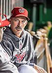 13 October 2016: Washington Nationals Pitching Coach Mike Maddux sits in the dugout prior to Game 5 of the NLDS against the Los Angeles Dodgers at Nationals Park in Washington, DC. The Dodgers edged out the Nationals 4-3, to take Game 5 of the Series, 3 games to 2, and move on to the National League Championship Series against the Chicago Cubs. Mandatory Credit: Ed Wolfstein Photo *** RAW (NEF) Image File Available ***