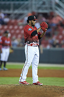 Marcos Diplan (18) of the Carolina Mudcats during the 2018 Carolina League All-Star Classic at Five County Stadium on June 19, 2018 in Zebulon, North Carolina. The South All-Stars defeated the North All-Stars 7-6.  (Brian Westerholt/Four Seam Images)