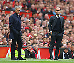 Jose Mourinho manager of Manchester United and Josep Guardiola manager of Manchester City during the Premier League match at Old Trafford Stadium, Manchester. Picture date: September 10th, 2016. Pic Simon Bellis/Sportimage