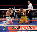 James DeGale defeats Ciaran Healy in the first round in a Middleweight fight at the MEN Arena on July 18, 2009 in Manchester, England.