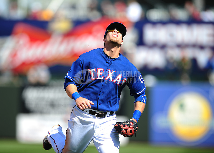 Mar. 10, 2010; Tempe, AZ, USA; Texas Rangers first baseman Chris Davis against the Seattle Mariners during a spring training game at Surprise Stadium. Mandatory Credit: Mark J. Rebilas-