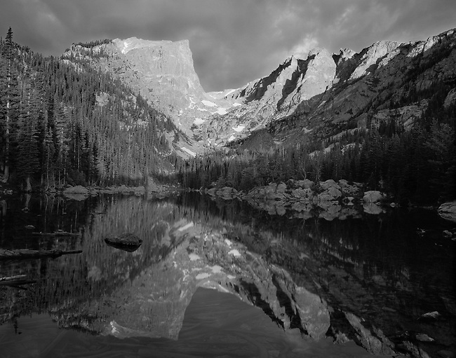 Sunrise, Light, Hallett Peak, Dream Lake, Rocky Mountain National Park, Colorado, black and white
