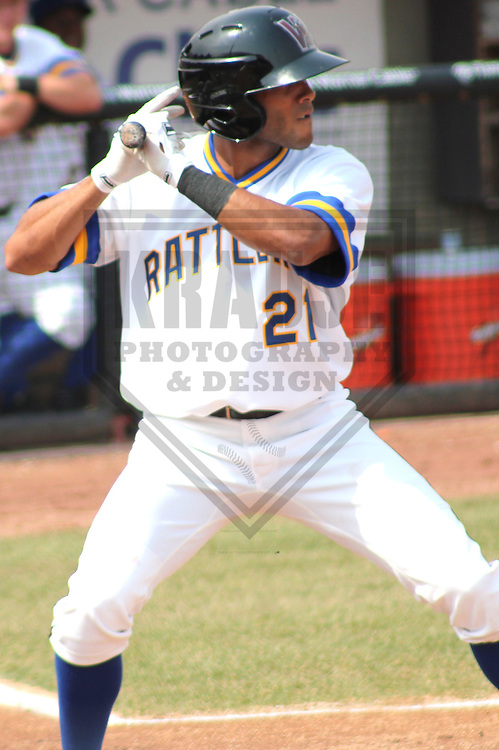 APPLETON - APRIL 2011: Franklin Romero (21) of the Wisconsin Timber Rattlers, Class-A affiliate of the Milwaukee Brewers, during a game on April 10, 2011 at Fox Cities Stadium in Appleton, Wisconsin. (Photo by Brad Krause) ....