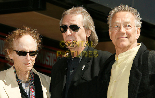ROBBIE KREIGER, JIM LADD & RAY MANZAREK.The Doors Celebrate 40th Anniversary with  a Star on the Hollywood Walk of Fame, Hollywood, California , USA,.28 February  2007 .portrait headshot sunglasses band music.CAP/ADM/RE.©Russ Elliot/AdMedia/Capital Pictures. *** Local Caption *** .