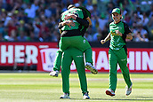 10th February 2019, Melbourne Cricket Ground, Melbourne, Australia; Australian Big Bash Cricket, Melbourne Stars versus Sydney Sixers; Marcus Stoinis, Ben Dunk and Adam Zampa of the Melbourne Stars celebrate the wicket of  Daniel Hughes of the Sydney Sixers