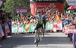 Benjamin King (USA) Team Dimension Data from the breakaway group wins Stage 4 of the La Vuelta 2018, running 162km from Velez-Malaga to Alfacar, Sierra de la Alfaguara, Andalucia, Spain. 28th August 2018.<br /> Picture: Colin Flockton | Cyclefile<br /> <br /> <br /> All photos usage must carry mandatory copyright credit (&copy; Cyclefile | Colin Flockton)