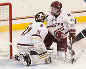 Joe Woll (BC - 31), Connor Moore (BC - 7) - The Boston College Eagles defeated the visiting UConn Huskies 2-1 on Tuesday, January 24, 2017, at Kelley Rink in Conte Forum in Chestnut Hill, Massachusetts.