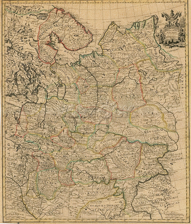 Map of the European Russia, 1721.