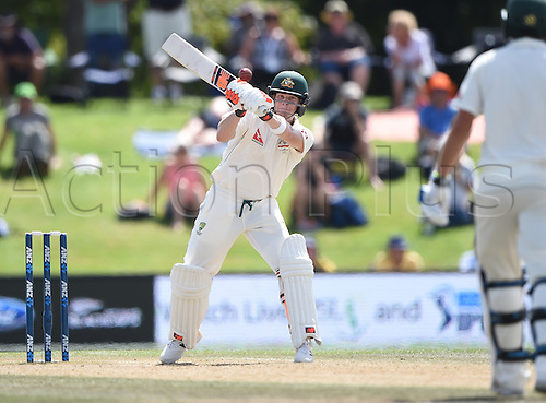 24.02.2016. Christchurch, New Zealand.  Steve Smith hits out on Day 5 of the 2nd test match. New Zealand Black Caps versus Australia. Hagley Oval in Christchurch, New Zealand. Wednesday 24 February 2016.