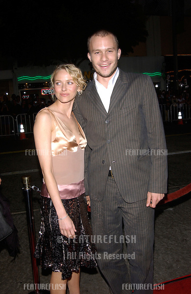 Actor HEATH LEDGER & actress girlfriend NAOMI WATTS at the world premiere, in Los Angeles, of his new movie The Four Feathers..17SEP2002.  © Paul Smith / Featureflash