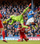 28.09.2018 Rangers v Aberdeen: Joe Lewis saves from Alfredo Morelos