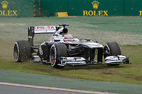 MELBOURNE, 17 MARCH - Pastor Maldonado (VEN) from the Williams F1 Team runs wide on turn one in the 2013 Formula One Rolex Australian Grand Prix at the Albert Park Circuit in Melbourne, Australia. Photo Sydney Low/syd-low.com