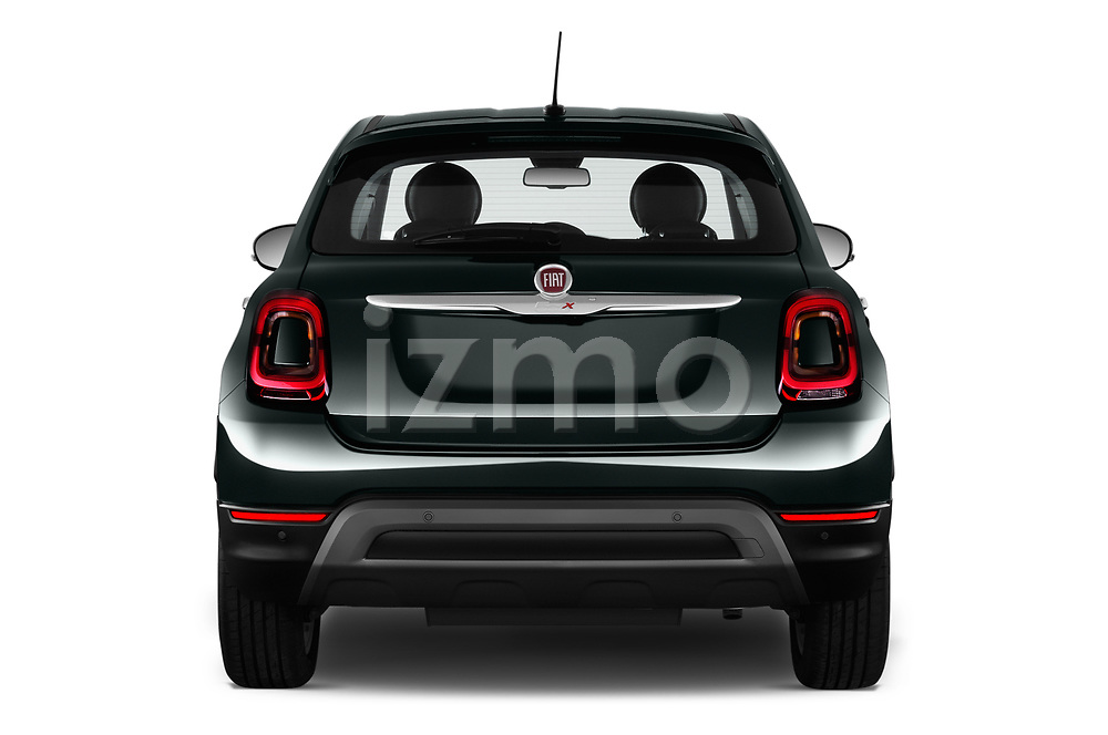 Straight rear view of 2019 Fiat 500X City-Cross 5 Door SUV Rear View  stock images