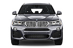 Car photography straight front view of a 2017 BMW X3 xDrive28d 5 Door SUV Front View