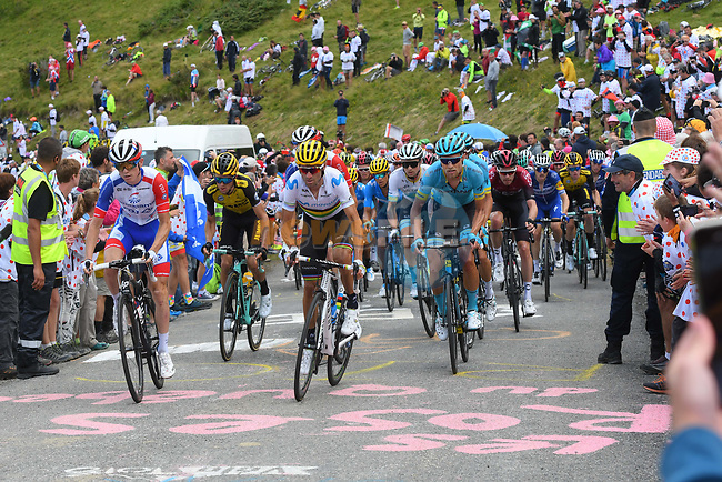 David Gaudu (FRA) Groupama-FDJ and World Champion Alejandro Valverde (ESP) Movistar Team lead the main group of GC contenders up the final climb Horquette d'Ancizan during Stage 12 of the 2019 Tour de France running 209.5km from Toulouse to Bagneres-de-Bigorre, France. 18th July 2019.<br /> Picture: KARLIS | Cyclefile<br /> All photos usage must carry mandatory copyright credit (© Cyclefile | KARLIS)