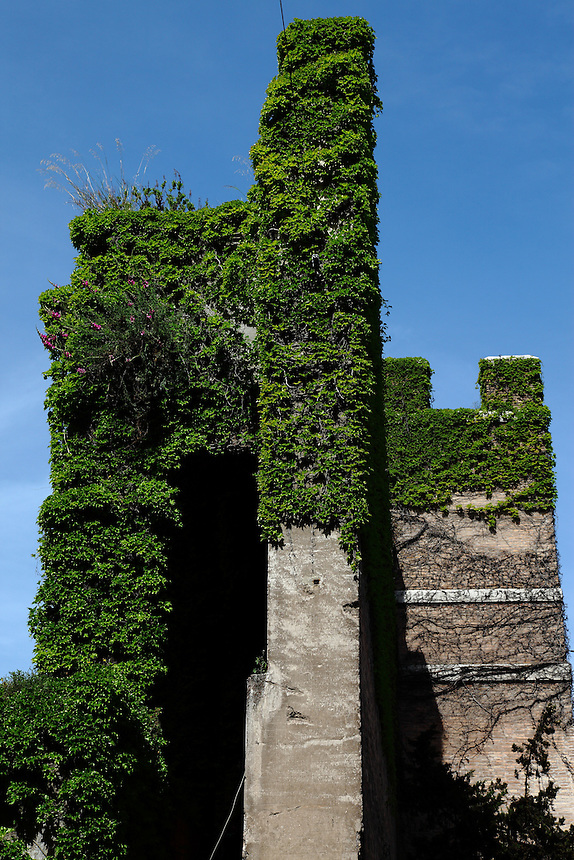 Rome, Porta PIa: A side view of the ivy-covered Aurelian walls at Porta Pia (Pia gateway), where the Bersaglieri entered through a breach.<br />