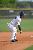 GCL Yankees East Jhon Moronta (57) leads off second base during the first game of a doubleheader against the GCL Blue Jays on July 24, 2017 at the Yankees Minor League Complex in Tampa, Florida.  GCL Blue Jays defeated the GCL Yankees East 6-3 in a game that originally started on July 8th.  (Mike Janes/Four Seam Images)