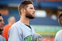 Lynchburg Hillcats pitcher Sam Hentges (23) during the national anthem before the second game of a doubleheader against the Frederick Keys on June 12, 2018 at Nymeo Field at Harry Grove Stadium in Frederick, Maryland.  Frederick defeated Lynchburg 8-1.  (Mike Janes/Four Seam Images)