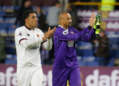 26.09.2016. Turf Moor, Burnley, England. Premier League Football. Burnley versus Watford. Watford captain, striker Troy Deeney and Watford keeper Heurelho Gomes applaud the travelling support at the final whistle.