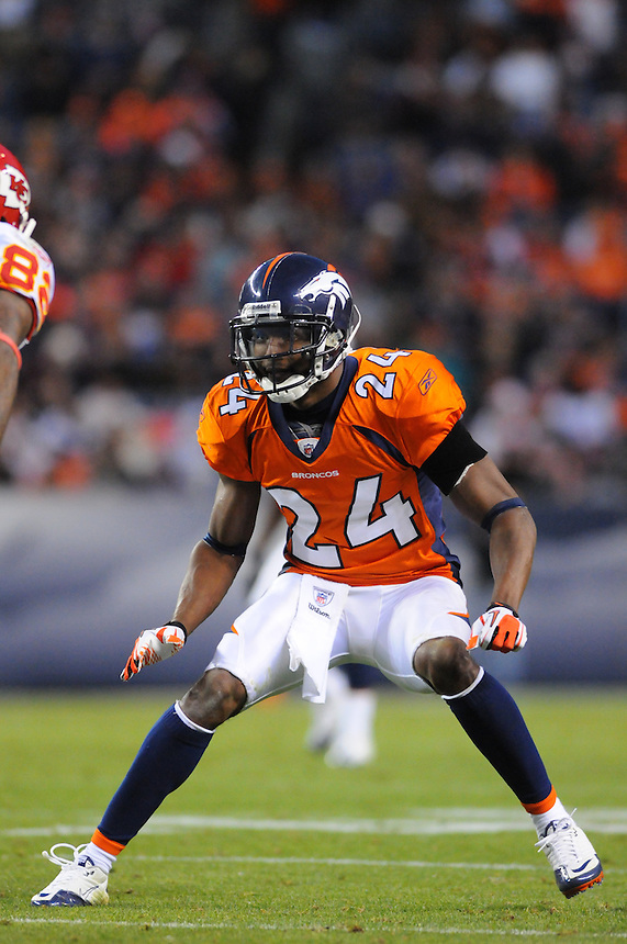 14 NOVEMBER 2010:  Broncos cornerback Champ Bailey  during a regular season National Football League game between the Kansas City Chiefs and the Denver Broncos at Invesco Field at Mile High in Denver, Colorado. The Broncos beat the Chiefs 49-29.