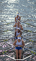 Rotterdam. Netherlands. GBR JW4X. Annabel Stevens, Sheyi Blackett, Lola Anderson and Lucy Glover.&nbsp;move into the start area for the  Junior SEMI FINAL A/B, at the  2016 JWRC, U23 and Non Olympic Regatta. {WRCH2016}  at the Willem-Alexander Baan.   Saturday  27/08/2016 <br /> <br /> [Mandatory Credit; Peter SPURRIER/Intersport Images]