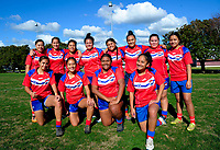 The Otara Scorpions team pose for a group photo before the Auckland Rugby League Girls Pilot under-17 match between Otara Scorpions and Richmond at Ngati Otara Park in Auckland, New Zealand on Saturday, 9 June 2018. Photo: Dave Lintott / lintottphoto.co.nz