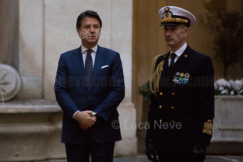 (From L to R) Giuseppe Conte (Italian Prime Minister) & Admiral Sq. Carlo Massagli (Military Advisor of the Prime Minister and Head of the Secretariat Office).<br /> <br /> Rome, 03/02/2020. Today, Prince Salmān bin Ḥamad Āl Khalīfa, Deputy King, Crown Prince, first deputy prime minister of the Kingdom of Bahrain, and deputy supreme commander of the Bahrain Defense Force, visited Palazzo Chigi where he met with the Italian Prime Minister Giuseppe Conte.