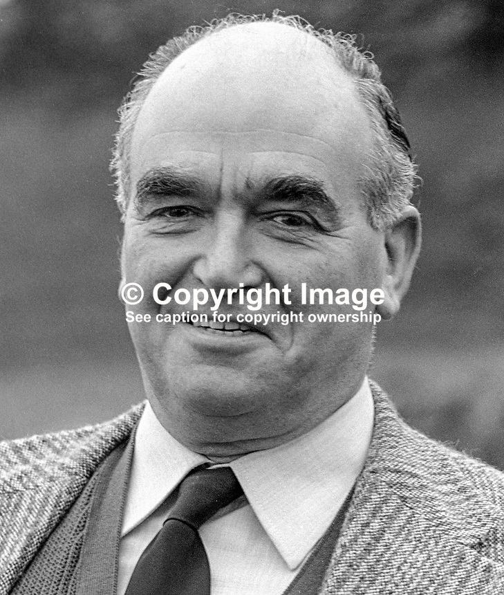 Harry West, leader, 1974 to 1979, Ulster Unionist Party, N Ireland, 197803000107d.<br />