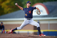 State College Spikes starting pitcher Carson Cross (43) delivers a pitch during a game against the Batavia Muckdogs on June 23, 2016 at Dwyer Stadium in Batavia, New York.  State College defeated Batavia 8-4.  (Mike Janes/Four Seam Images)