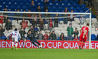 Sam Vokes of Wales sees his penalty saved by Jaime Penedo of Panama during the International Friendly match between Wales and Panama at the Cardiff City Stadium, Cardiff, Wales on 14 November 2017. Photo by Mark Hawkins.