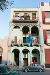 Havana, Cuba; apartments along the Prado where locals have hung their laundry out to dry on the balconies