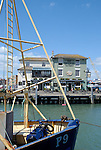 Camber Dock fishing port and The Bridge Tavern in Old Portsmouth, Hampshire, England